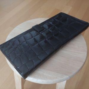 vintage black crocodile clutch
